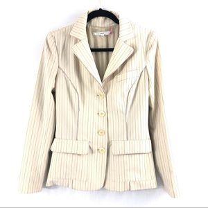 Diane Von Furstenberg Cream Pink Pinstriped Jacket